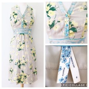 Anthropologie Maeve Yellow Floral Dress Sz6